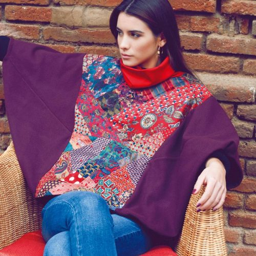 poncho upcycling - burdeos